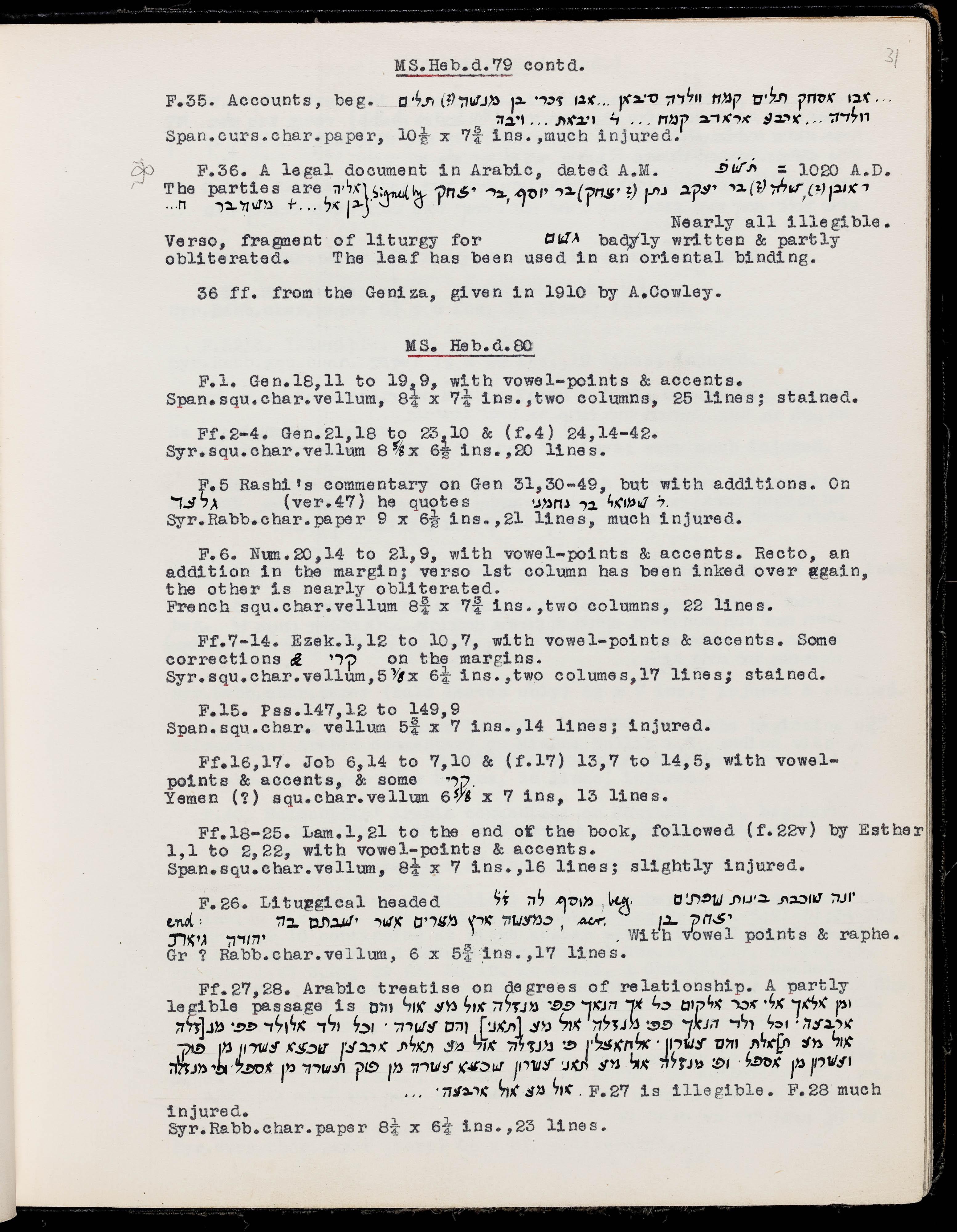 MS  Heb  d  79 - Genizah Fragments